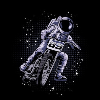 Astronaut riding a motorcycle in the space