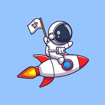 Астронавт езда на ракете значок иллюстрации. spaceman mascot мультипликационный персонаж. наука иконка концепция изолированные