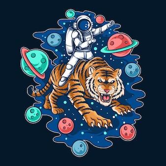 宇宙飛行士が宇宙の虎に乗る