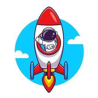 Illustrazione dell'icona di vettore del fumetto di guida del razzo dell'astronauta. vettore premium isolato concetto di icona di tecnologia di scienza. stile cartone animato piatto