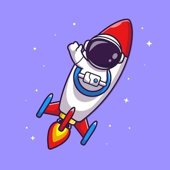 宇宙飛行士乗馬ロケット漫画ベクトルアイコンイラスト。科学技術アイコンコンセプト分離プレミアムベクトル。フラット漫画スタイル