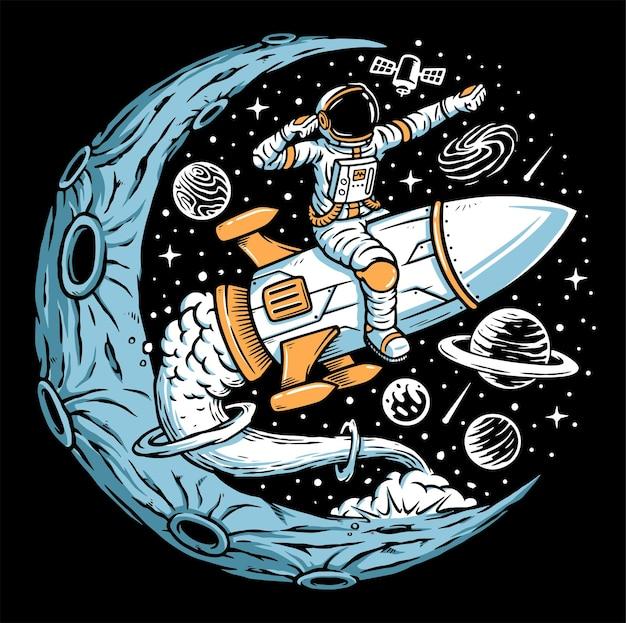 Astronaut riding rocket on the moon illustration