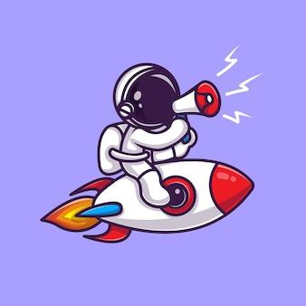 Астронавт езда на ракете с мегафоном мультфильм векторные иллюстрации значок. концепция значок технологии науки изолированные premium векторы. плоский мультяшном стиле