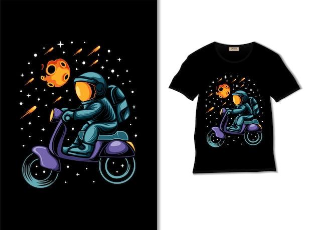 Космонавт катается на скутере в космической иллюстрации с дизайном футболки