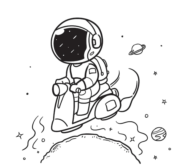 Astronaut riding a scooter in space