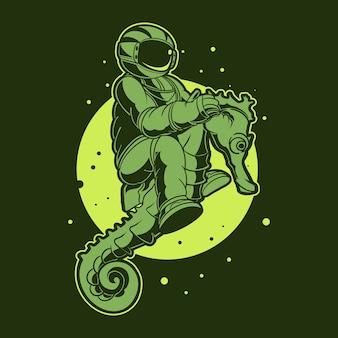 Астронавт верхом на морском коньке на космической иллюстрации