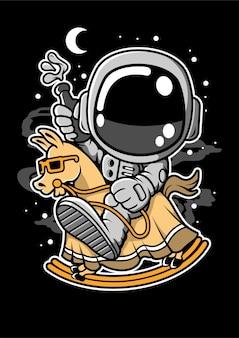 Astronaut riding toy horse cartoon character