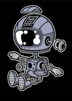 Astronaut robot cartoon character
