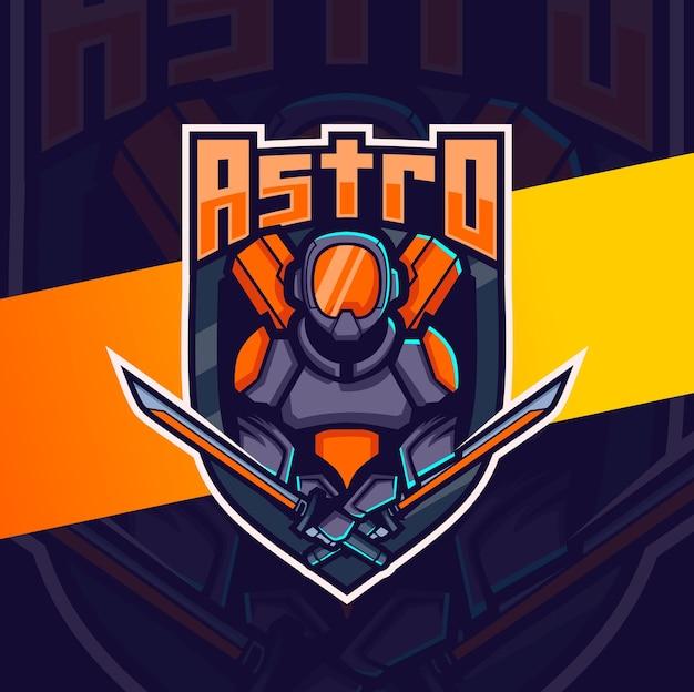 武器のeスポーツのロゴデザインと宇宙飛行士のロボットマスコット