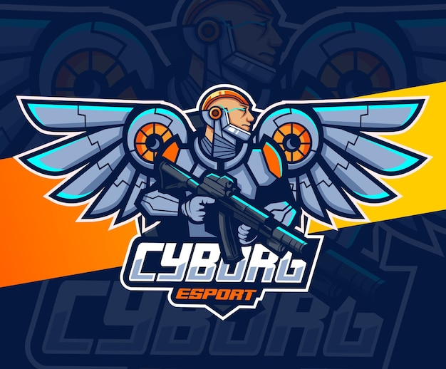Astronaut robot mascot with wings and weapon esport logo design