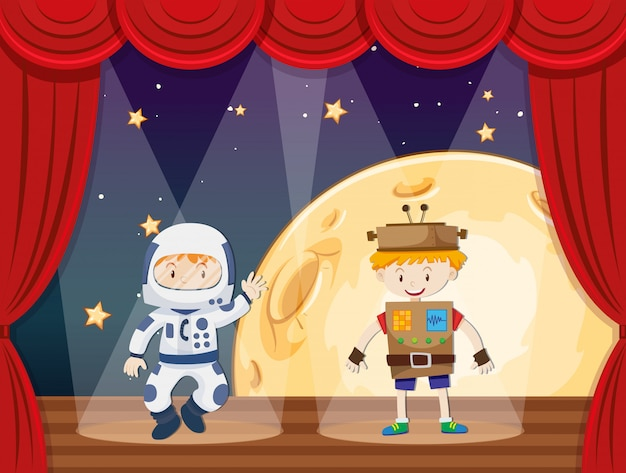 Astronaut and robot on stage