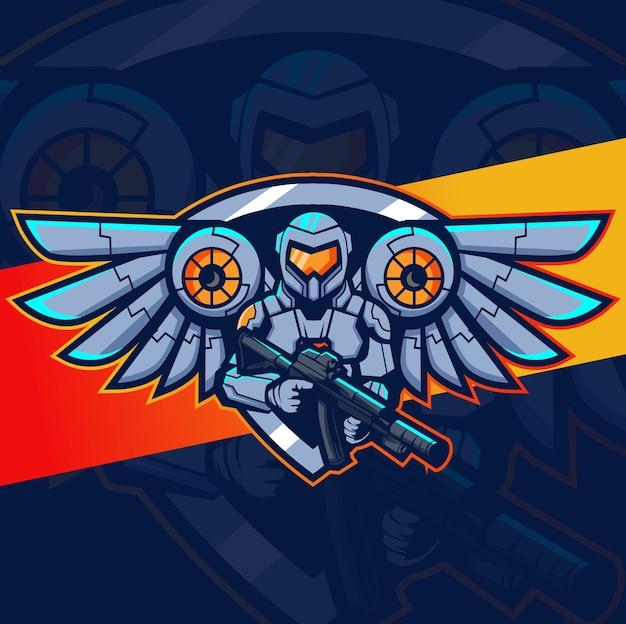 翼のマスコットのeスポーツのロゴデザインと宇宙飛行士のロボット