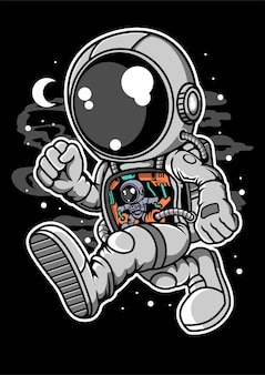 Astronaut robotic machine cartoon character