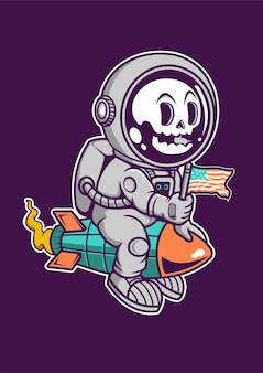 Astronaut rocket cartoon character hand drawn