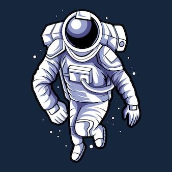 Космонавт бегает по космическому дизайну