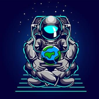 Astronaut save earth illustration