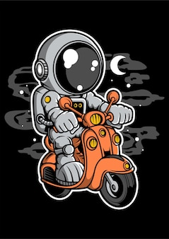 Astronaut scooter cartoon character