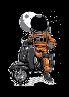 Astronaut scooter space moon illustration