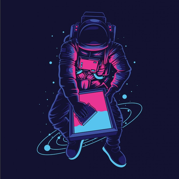 Astronaut screen printer  illustration