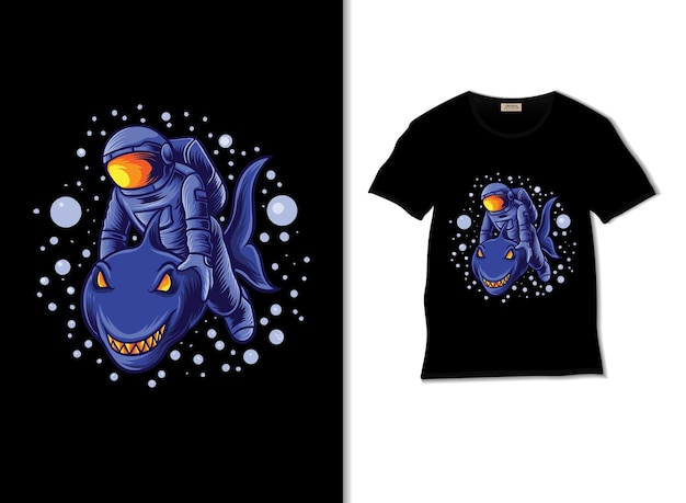 Astronaut and the shark adventure illustration with t shirt design