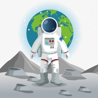 Astronaut sign. space concept. cosmos