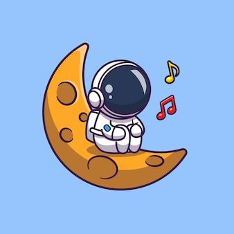 Астронавт поет на луне значок иллюстрации. spaceman mascot мультипликационный персонаж. наука иконка концепция изолированные