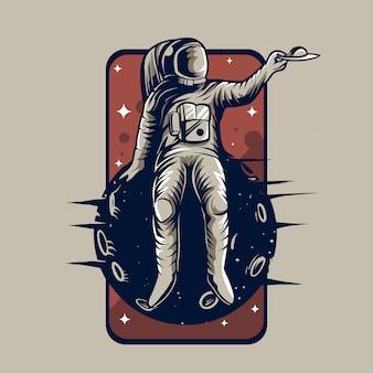 Astronaut sit down on a planet  emblem