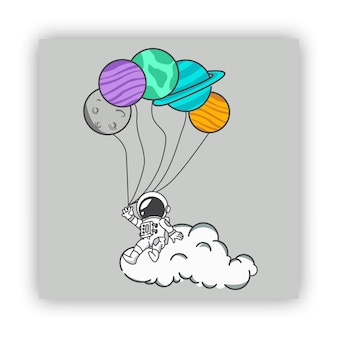 Astronaut sitting on the cloud with ballons planets
