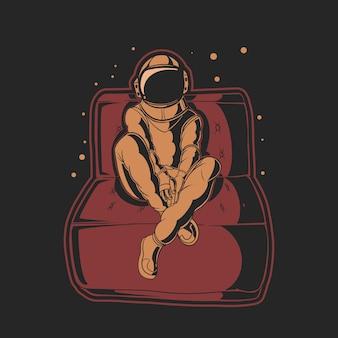 Астронавт сидит на диване иллюстрации