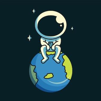 地球上に座っている宇宙飛行士