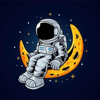 Астронавт сидит на луне