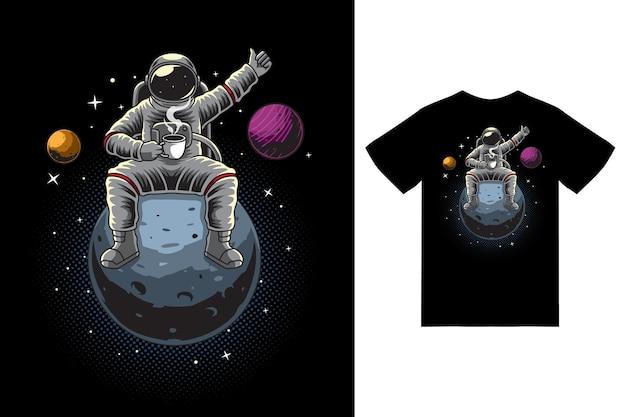 티셔츠 디자인 프리미엄 벡터로 커피 컵 삽화를 들고 앉아 있는 우주 비행사
