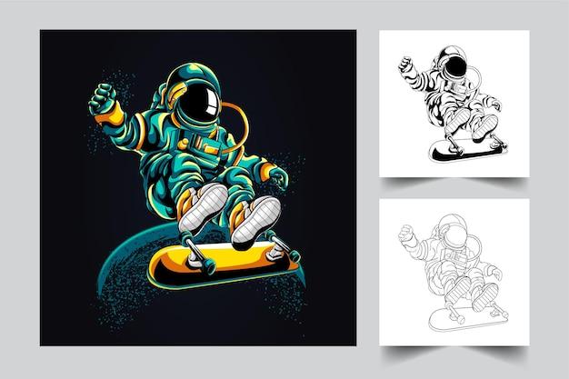 우주 비행사 스케이트 보드 삽화 그림