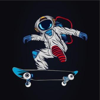 우주 비행사 스케이트 보드 삽화 삽화