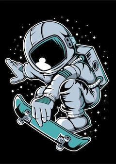 Прыжок на скейтборде космонавта