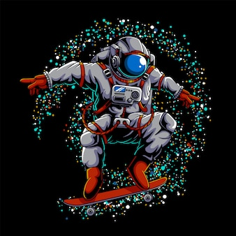 Astronaut skateboard outer space illustration