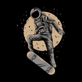 Astronaut skateboard on space with moon