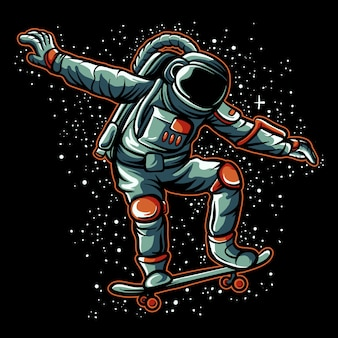 Astronaut skateboarding illustration