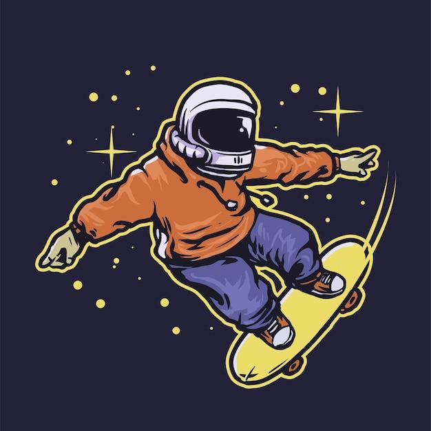 Космонавт на скейтборде в космосе