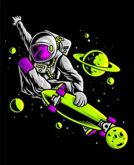 Астронавт скейтбординг в космосе
