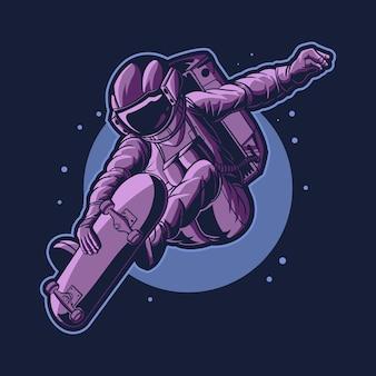 Астронавт катается на скейтборде в космосе на фоне луны