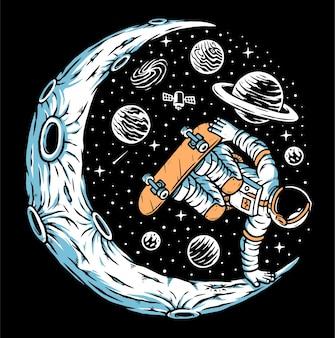 月のイラストでスケートボードをする宇宙飛行士
