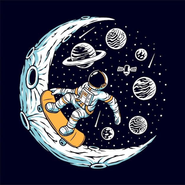 Астронавт катается на скейтборде на луне