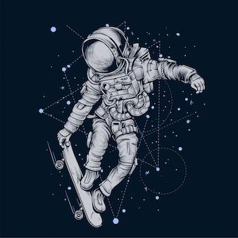 Astronaut skateboarding in space