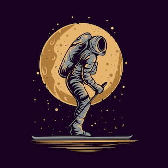 Astronaut skating on space  illustration
