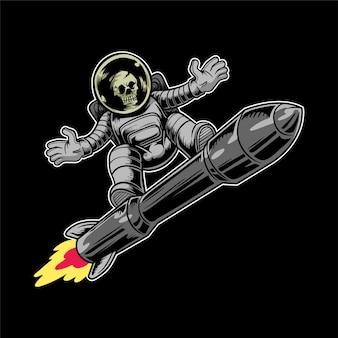 宇宙飛行士の頭蓋骨はロケットに乗る