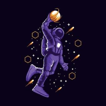 Astronaut slamdunk in space illustration