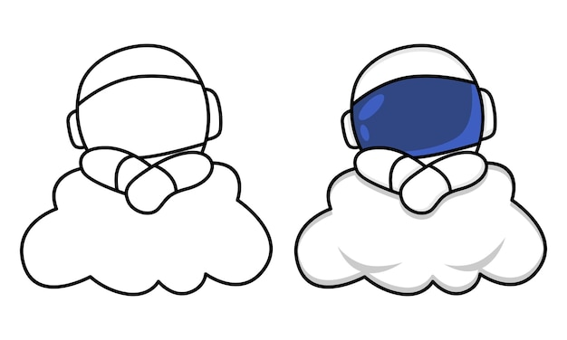 Astronaut sleeping on the cloud coloring page for kids