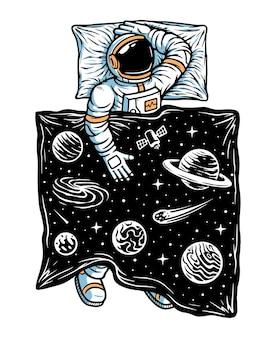 우주 그림에서 자고있는 우주 비행사