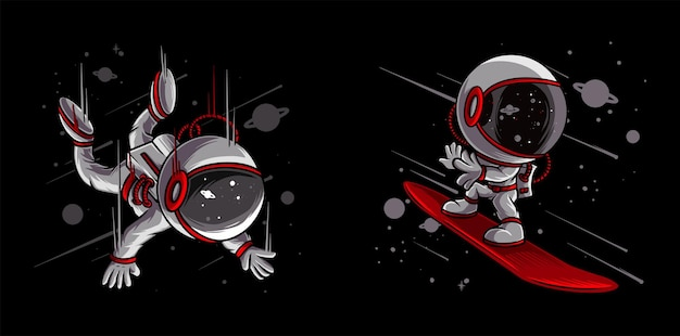 宇宙飛行士のスノーボードとスカイダイビング